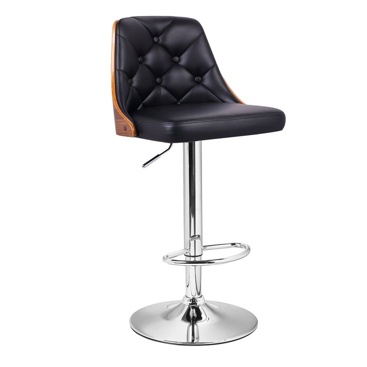 Great Black Leatherette And Walnut Color Wood Bar Stool With Full Button Tufted  Back