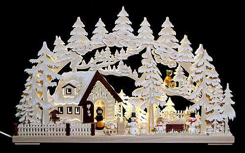 3D-Schwibbogen Winterlandschaft mit Raureif (62 cmx39 cm) von RATAGS Holzdesign