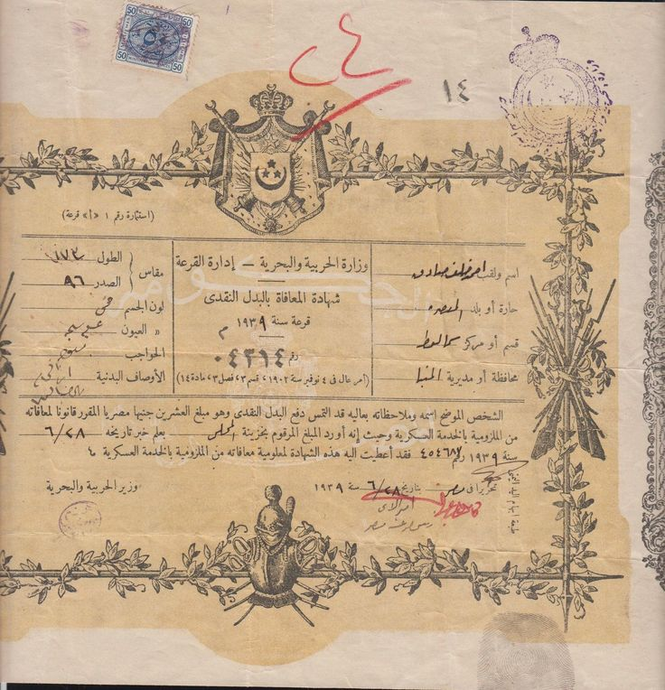 Egyptian Military Exemption Certificate, 1939
