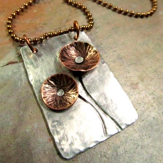 Hand Stamped Necklace with Copper Flowers and Mixed Metals - Aluminum and Copper