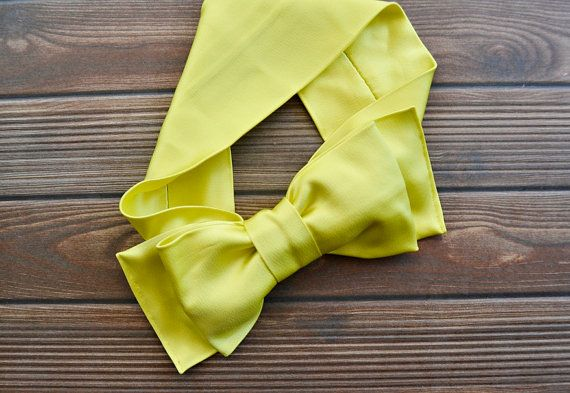 Neon Yellow Turban Headband Boho Headband Bow Tie by BizimFlowers