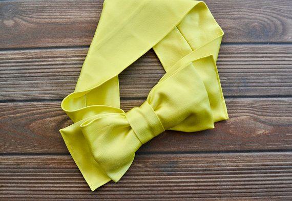 Neon Yellow Turban Headband Boho Headband Bow Tie by BizimFlowers