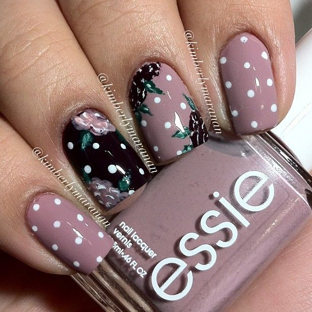 Polkadots & roses using Essie - Ladylike, Carry On, Blanc, and Going Incognito ❃ ❃ @kimberlymaranan