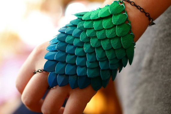 Ombre Hand Painted Green Blue Dragonscale Scalemaille Bracelet Bracer with…