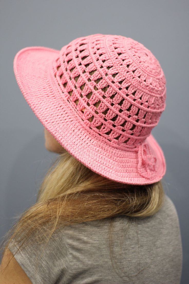 Crochet sun hat womens Summer hat women Wide brim hat pink Cotton beach hat – Roupas de crochê
