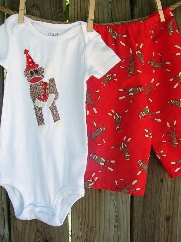 Sweet outfit with adorable sock monkey design on #Zibbet