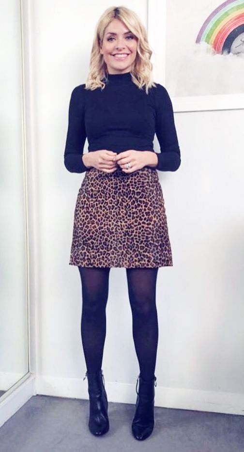 7dae26421 Want to know how to do the miniskirt but the grown-up version? Holly  Willoughby has the best formula, and you're going to want to copy it.