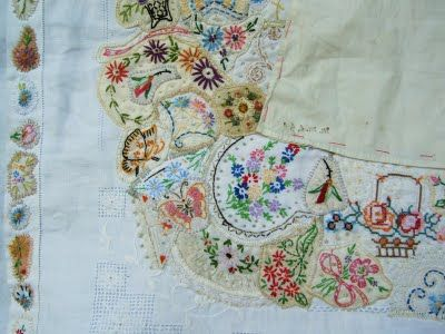 by Susan Lenz recycle embroiderySewing, Crazy Quilt, Embroidery, Floral Design, Crazy Patchwork, Beautiful Embroidery, Needlecrafts Embroidery, Needlework Stitchery, Stitches