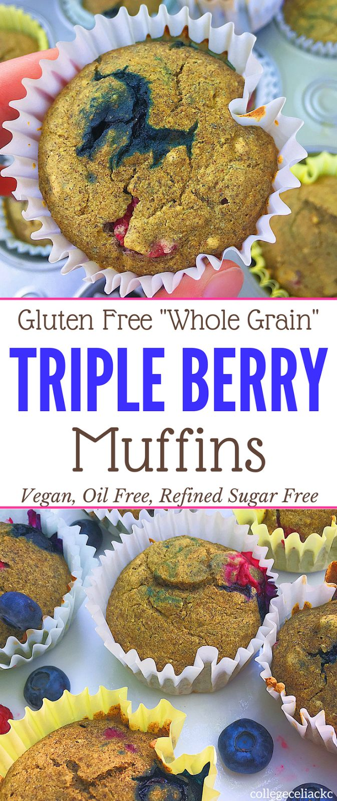 """Craving a healthy blueberry muffin recipe that is free of allergens but packed with flavor? Then these triple berry gluten free muffins are exactly what you need! Thanks to quinoa and buckwheat flour, these vegan muffins have a """"whole grains"""" flavor. And, despite being oil free and refined sugar free, these gluten free muffins will disappear before you know it!"""