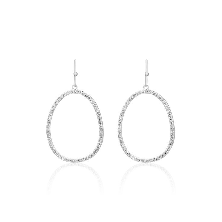 PAVE - long crystal paved circle earrings