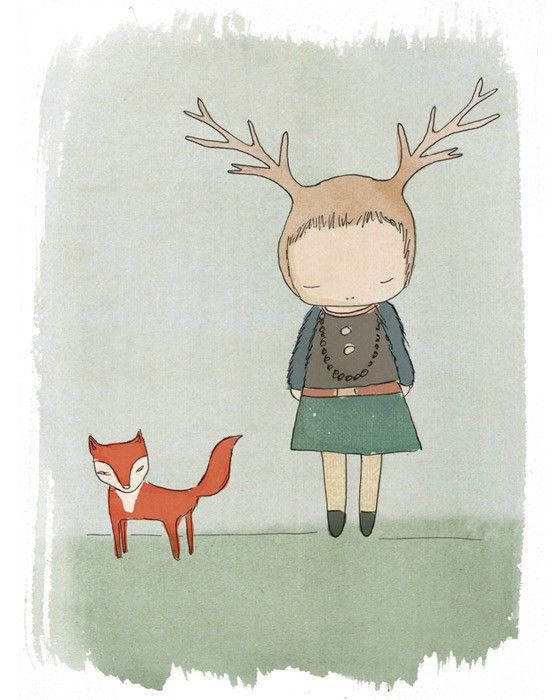 Children Wall Decor - Red Fox and Deer Girl Cute Illustration Print. #woodland