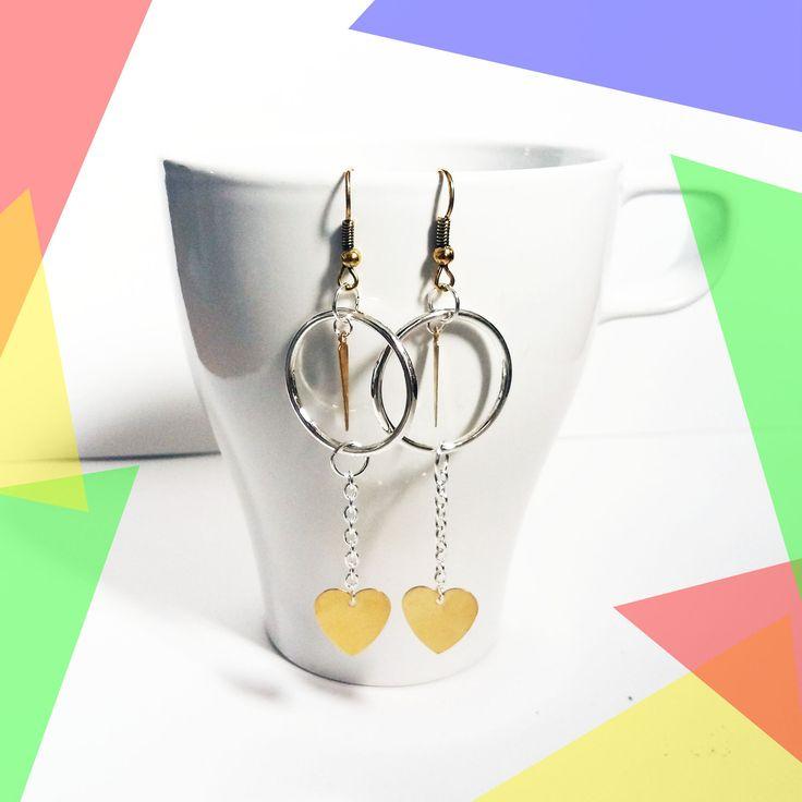 Boucles d'oreilles dorée argentées cœur cercle minimalistes pendantes
