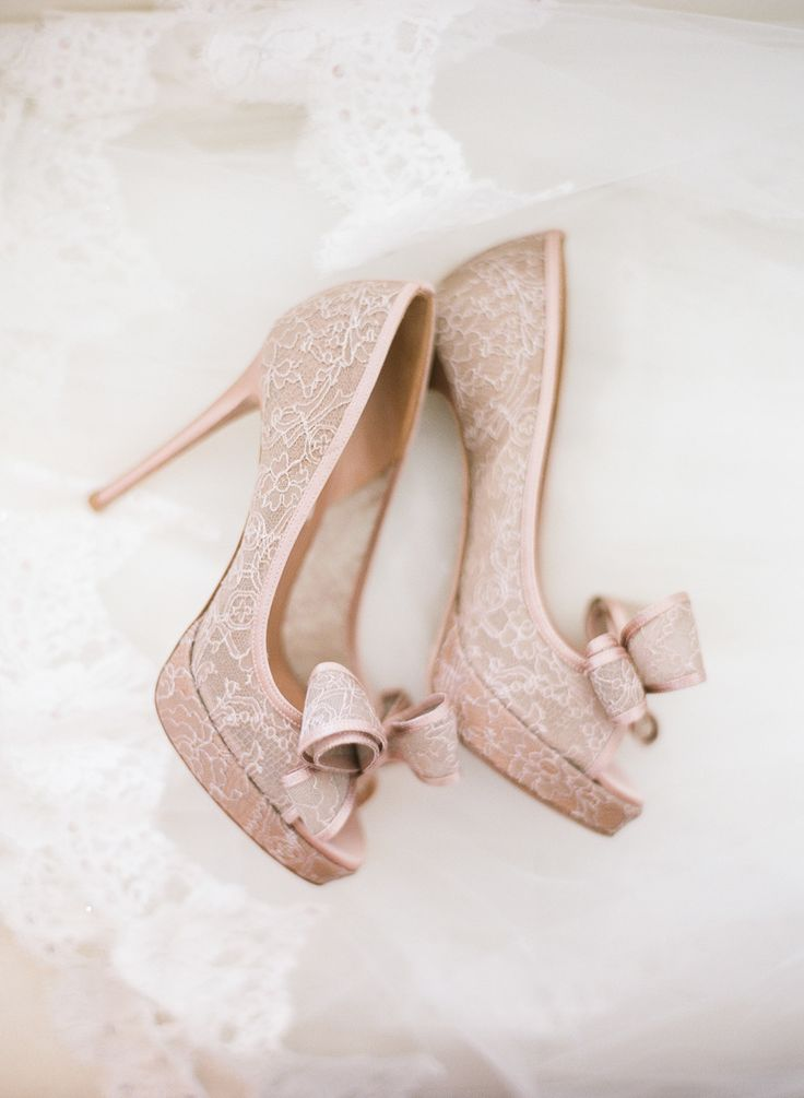 Pink lace wedding shoes