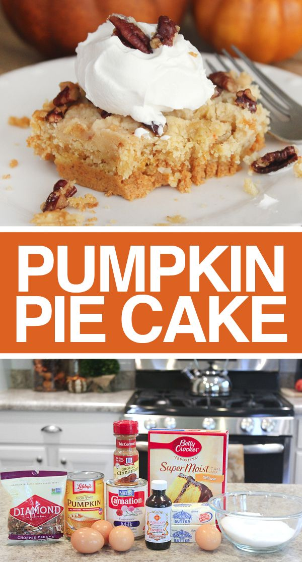 Pumpkin Pie Cake - SO GOOD!!! If you love pumpkin pie, you need to make this!!