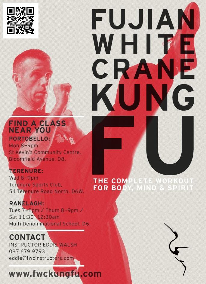 Flyer for Fujian White Crane kung fu club, Dublin.