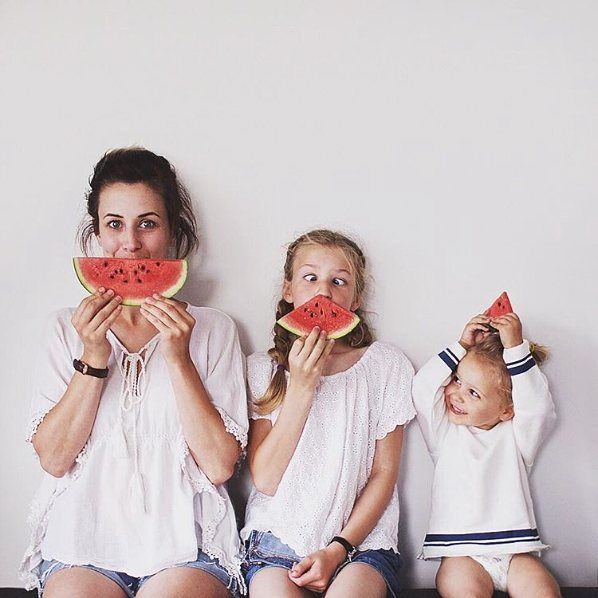 """'Daughter-melon' by English photographer/blogger Dominique Davis (@allthatisshe) who writes """"My feed is my photo album and I hope to capture those funny family moments as best I can. Children change so much everyday and I dont want to miss a thing. By taking a weekly photo I want to be able to look back and see every change no matter how small it is."""" // #contemporaryphotography #minimal #minimal_perfection #mindtheminimal #learnminimalism #portrait #portraits #portraitphotography…"""