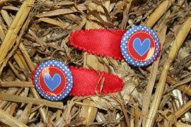 Haarspeldje flatback rood wit blauw hart