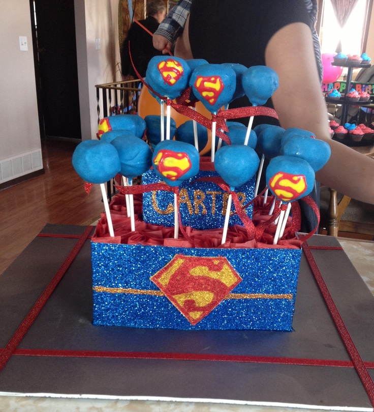 Family Food And Fun First Birthday Cake: Made This Superman Themed Cake Pop Arrangement For My