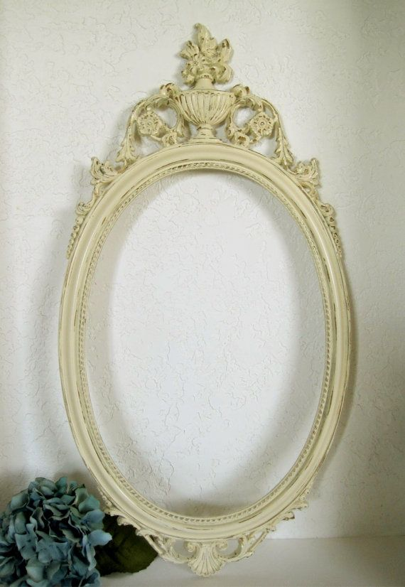 baroque mirror ivory white french style wall decor 1960s 16x31