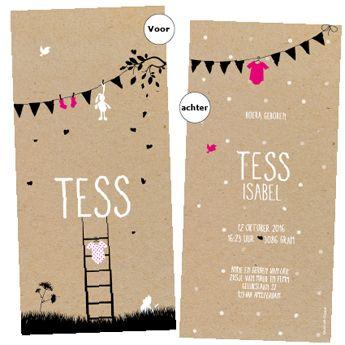 retro geboortekaartje op karton met waslijn knuffeltje en rompertje zwart roze en wit