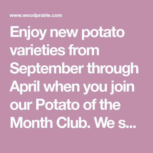 Enjoy New Potato Varieties From September Through April When You Join Our Potato Of The Month Club We Send A New Potato S Month Club Potato Varieties Potatoes
