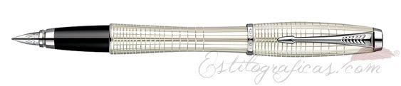 Estilográfica Parker Urban Premium Pearl Metal Chiselled
