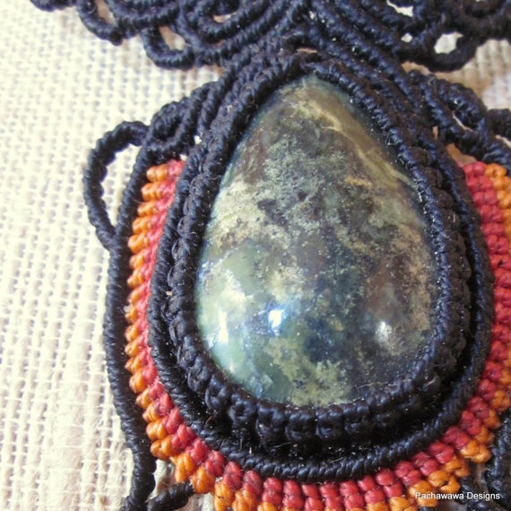 Rainbow Scarab Macrame Necklace by pachawawa on Etsy, $95.00