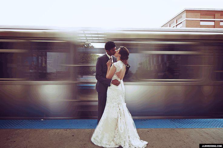 Chicago Fullerton Ave train platform wedding blur