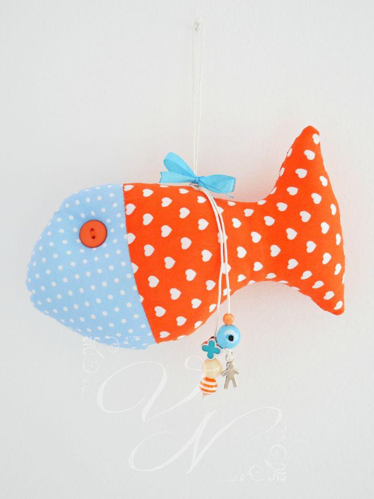 Χειροποίητο υφασμάτινο φυλαχτό για νεογέννητα μωράκια (17,5 cm × 10 cm) - Handmade fabric lucky charm for newborn babies