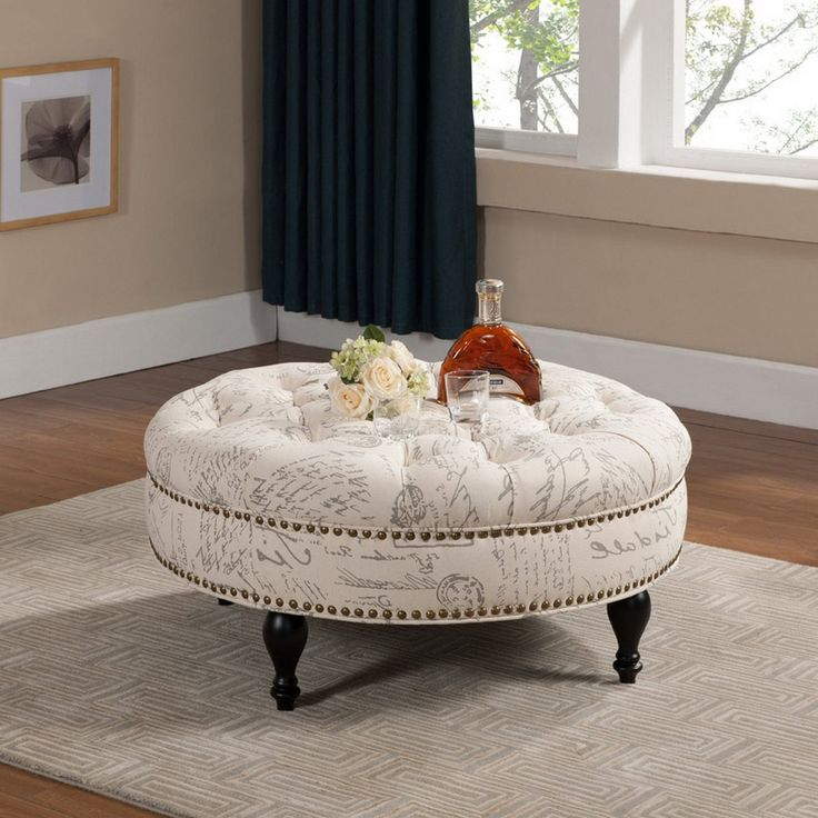 Round Upholstered Coffee Table - Contemporary Living Room Sets Check more  at http://