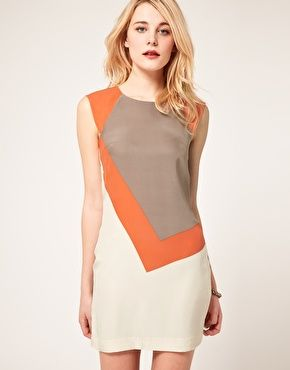 French Connection silk dress with color block