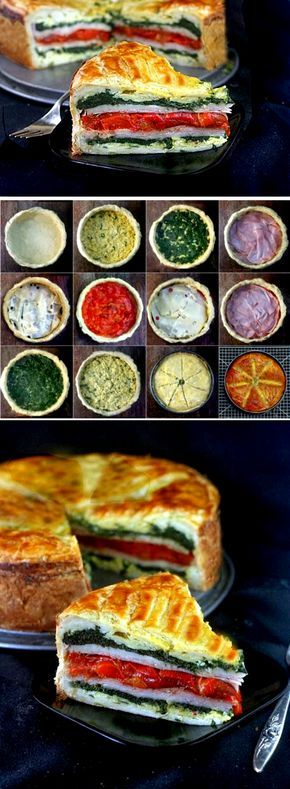 Tourte Milanese - layers of eggs, ham or turkey, cheese, roasted peppers and spinach encased in puff pastry, all in one springform pan!. A great brunch (or anytime!) stunner and super simple to put together!