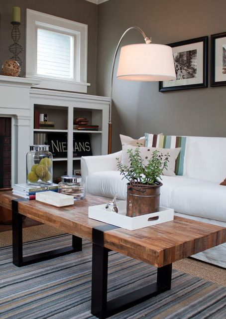 Great colors and style! I love refurbished wood, and white built-ins.  • Benjamin Moore's Copley Grey   #paintcolor