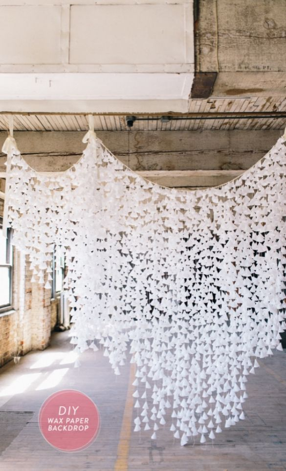 DIY Wax Paper Backdrop from @stylemepretty | Photo booth backdrop | Wedding Background