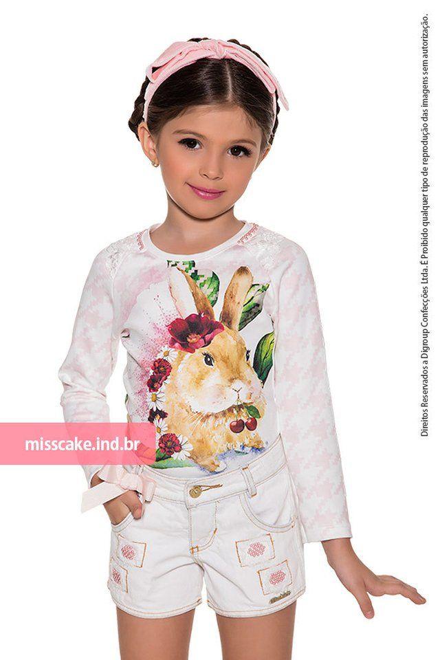 Shorts Infanto Juvenil e BlusaMiss Cake  Conjunto - Shorts infantil com blusa Miss Cakecom 2 Peças: Blusa Infantil Miss Cake Moda Infanto Juvenil ...