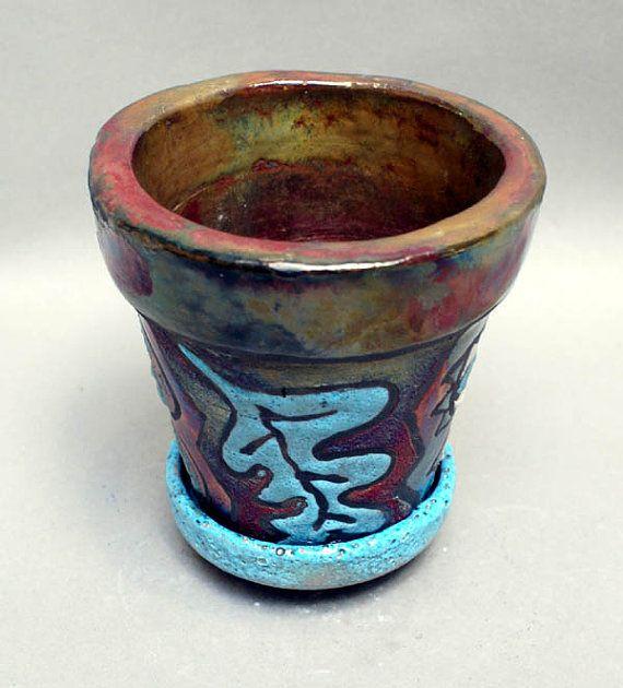 Raku Planter and Plate Colorful Ceramic Art by MicheleMorehouse, $22.00