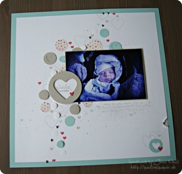 Baby layout by Jenni Pauli - love the trail of circles and hearts...