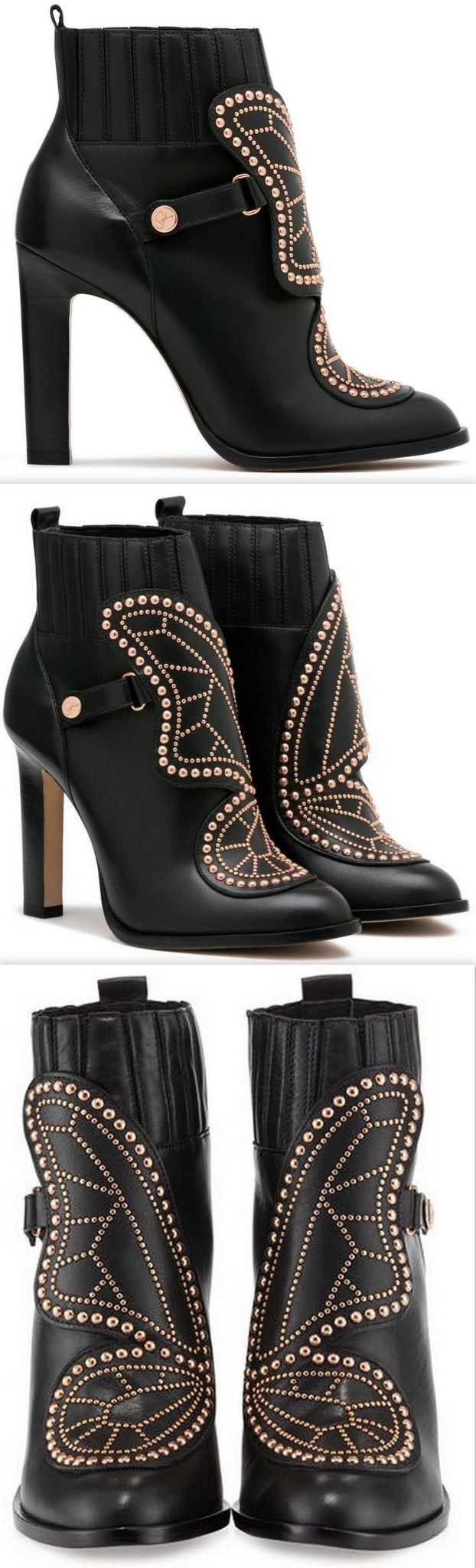 'Karina' Butterfly Studded Leather High-Heel Ankle Boots-Black