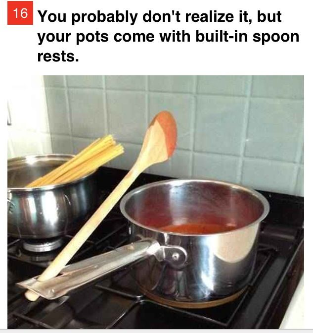 Life hack! Your pots come with spoon holders!!: Cleaver Ideas, Handy Tips, Genius Ideas, Cooking Tips, Life Hacks, Nifty Tricks, Amazing Ideas