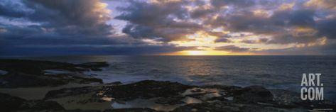Makaha Beach Park at Sunset, Oahu, Hawaii, USA Photographic Print by Panoramic Images at Art.com