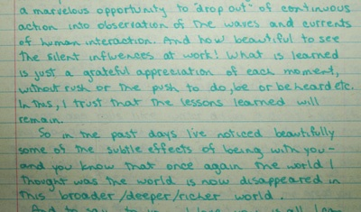 Part of one of the original handwritten letters Shamcher returned to Carol