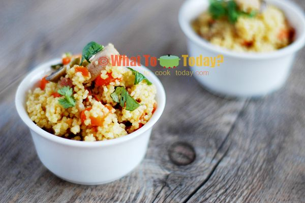 Ptitim/ Israeli couscous casserole with chicken and vegetables. so yummy!