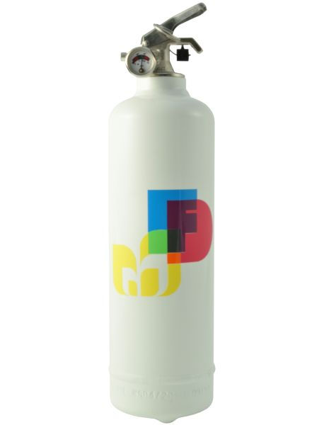 Extinguisher Fire design Background color: white Fire extinguishing agent: polyvalent powder ABC Acts on all types of fire All-inclusive service 10-year gl...
