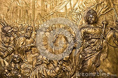 Wawel cathedral in Cracow Krakow, Poland. The famous artwork of Jan Third Sobieski, king of Poland, copper sculpture.
