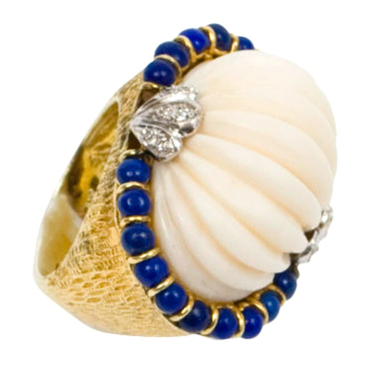 Angelskin Coral, Lapis and Diamond Ring