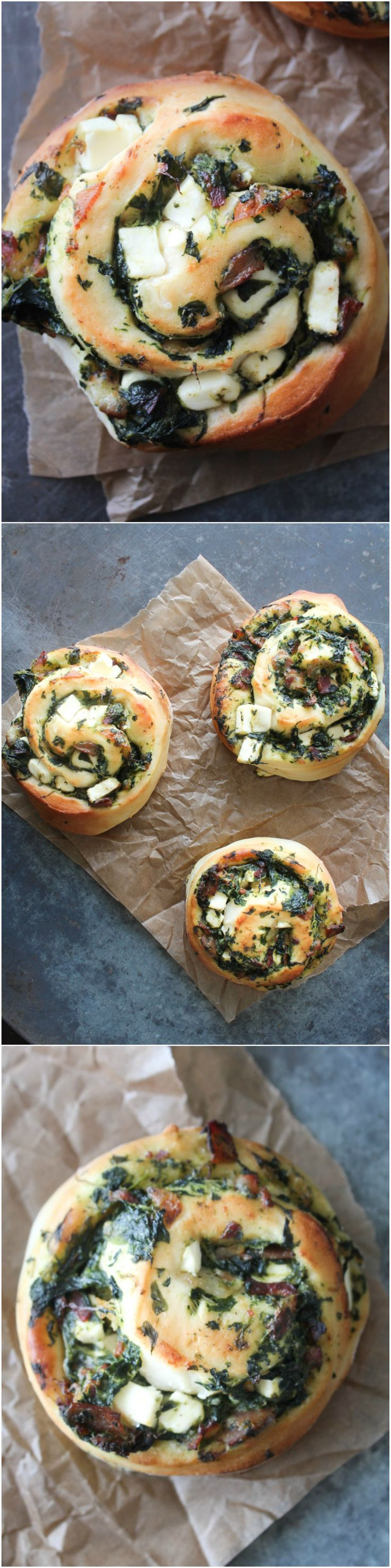 Spinach, feta cheese and bacon rolls - homemade bread - homemade rolls - bacon bread - spinach bread