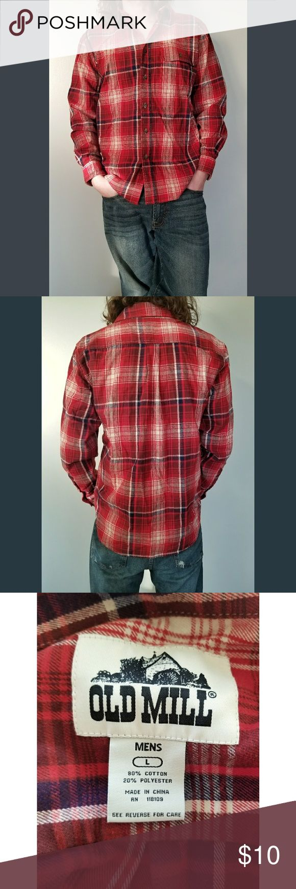 Men's Old Mill Long Sleeve Flannel Button Down Men's Old Mill Long Sleeve Flannel Button Down  ◾Condition: Used, worn once ◾Size: Large ◾Brand: Old Mill ◾Color: Red/Blue Plaid  ◾Button down ◾Left chest pocket ◾80% Cotton, 20% Polyester Old Mill Shirts Casual Button Down Shirts