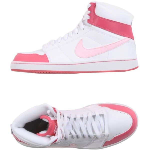 Nike High-tops & Sneakers ($135) ❤ liked on Polyvore featuring shoes, sneakers, white, white high top sneakers, white hi top sneakers, nike trainers, white high tops and white high top shoes