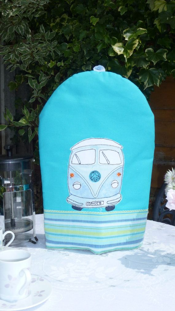 Blue VW Campervan Cosy for large Cafetiere by SuzySueSews on Etsy