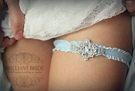 Cinderella Wedding Garter Something Blue by BrilliantBride on Etsy